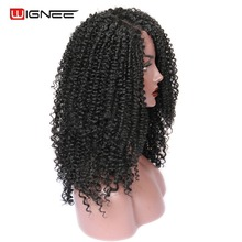Wignee Side Part Lace Front Synthetic Wigs For Women Afro Kinky Curly Hair Heat Resistant Natural Black/Brown Cosplay Hair Wigs стоимость