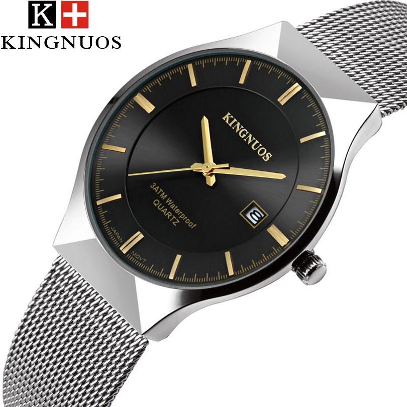 KINGNUOS New Quartz Watch Men Watches Top Luxury Brand Male Clock Stainless Steel Wrist Watch For Men Hodinky Relogio Masculino chenxi men gold watch male stainless steel quartz golden men s wristwatches for man top brand luxury quartz watches gift clock