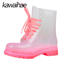 Transparent Rubber Shoes Female Waterproof Rain Boots Women Boots Kawaihae Brand Knight Riding Boots