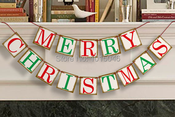 Free Shipping 1 X Colorful MERRY CHRISTMAS Bunting Banner Photo Prop Christmas Party Decoration Garlands