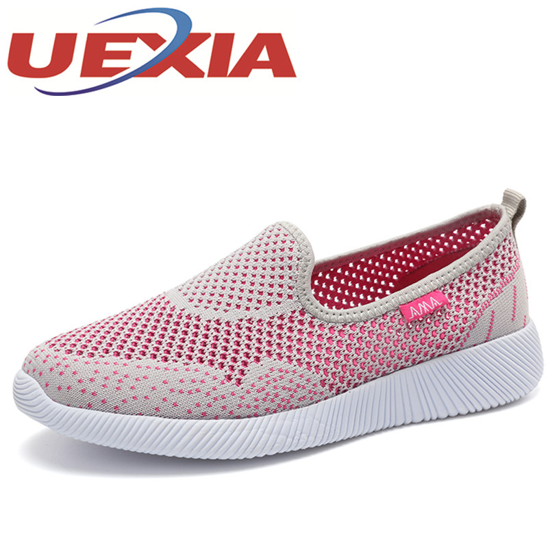 Summer Fashion Breathable Mesh Sport Shoes Women Casual Flat Slip On Sneakers Shoes Outdoor Black Walking Shoes Zapatos Mujer 2016 women athletic running shoes for women breathable mesh sport shoes sneakers woman walking shoes zapatillas mujer