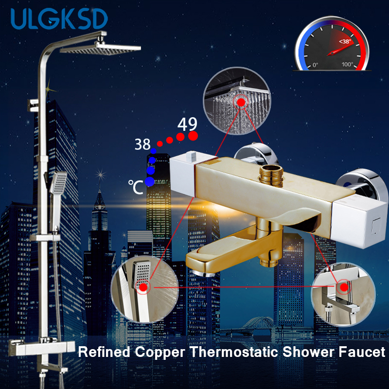 Ulgksd Newly 8 Inch Thermostatic Shower Set Faucet w/ Hand Sprayer Chrome Plate Rainfall Shower Tub Mixer Faucet thermostatic valve mixer tap w hand shower tub spout tub faucet chrome finish