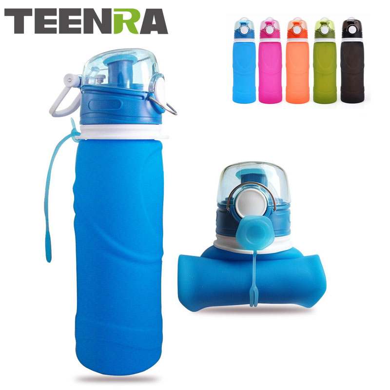 TEENRA 750ML Collapsible Silicone Water Bottle Silicone Folding Kettle Outdoor Sport Water Bottle Camping Travel Running Bottle