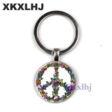 XKXLHJ Novelty Butterfly Combination Peace Sign Keychain DIY Hippie Bus Glass Cabochon Pendant Charm Key Ring Holder