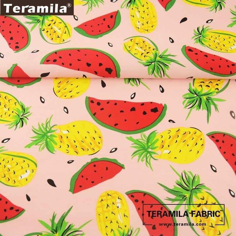 Хлопок teramila Поплин Ткань высокого качества с принтом фруктов стиль светло-розовый лоскутное шитье платье своими руками рубашка ремесла кукольная ткань
