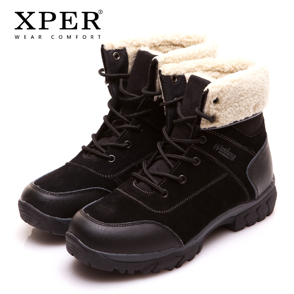 XPER Brand Men Shoes Martin Men Winter Boots Size 40~45 Warm Plus Size Lace-up Men Winter Shoes #BT003 plus size lace up letter and coconut tree print straight leg men s shorts
