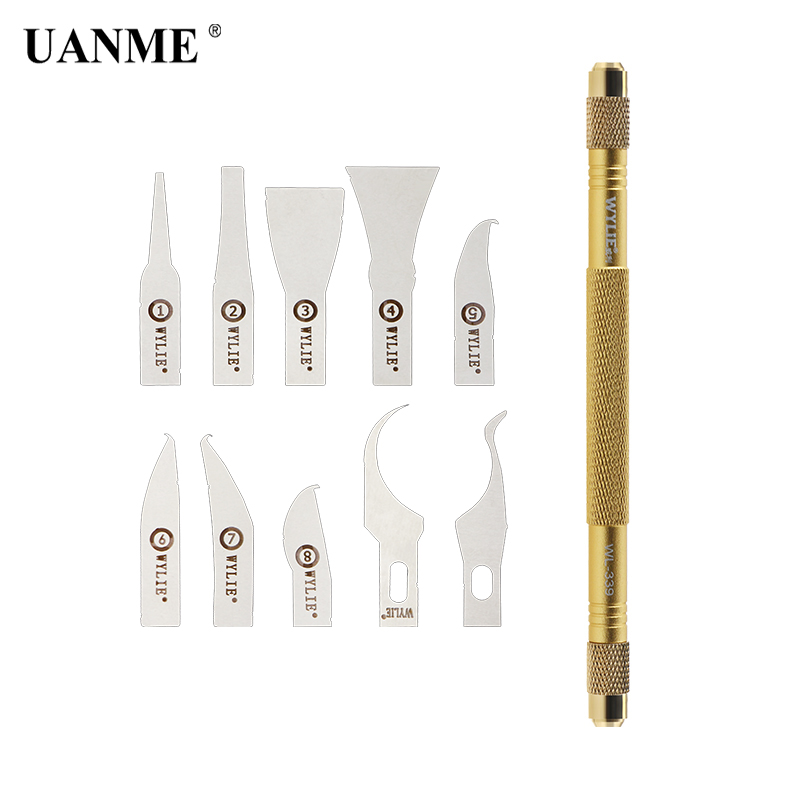 где купить UANME 1pcs Glue Remov Tool with Cold Blade and Thin Blade Tech Processors knifes For iPhone CPU Mainboard IC Repair Tool Set по лучшей цене