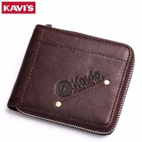 KAVIS Logo 100 Men Genuine Leather Wallets Card Holder Zipper Designer Purse Men Business Travel Men
