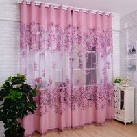 1pcs Vogue Room Floral Tulle Window Screening Curtain Drape Scarfs Valances VB241 T15 0 5