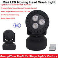 8Pcs/Lot Carton Package LED Mini Wash Moving Head Light 3X3W RGB Full Color LED Stage Strobe Lights 110 240V With Remote Control