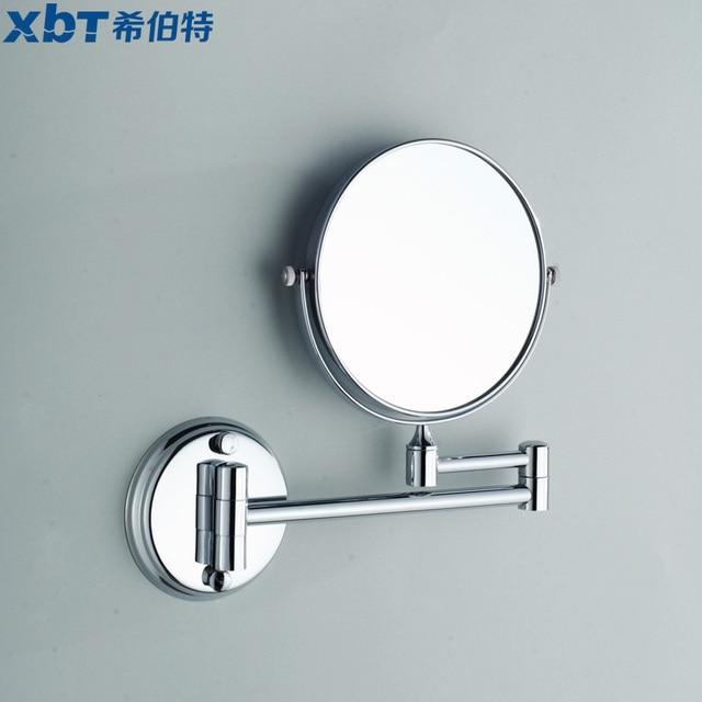 Copper bathroom makeup mirror folding retractable double faced cosmetic mirror double faced wall mirror