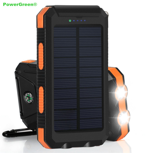 PowerGreen Solar Charger Battery Portable 10000mAh Rain Resistant  Shockproof, Dual USB Output Solar Power