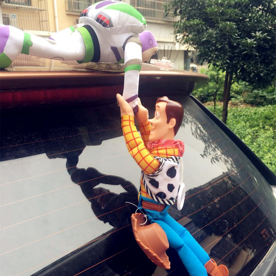 Hot Toy Story Sherif Woody Buzz Lightyear Car Dolls Plush Toys Outside Hang Toy Cute Auto Accessories Car Decoration 20/35/40CM(China)