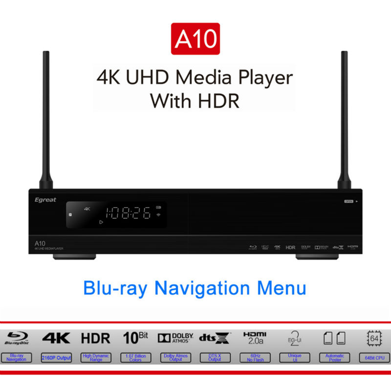 Egreat A10 4K UHD Media Player Hi3798CV200 2G/16G support AC WIFI Gigabit LAN HDR10 Blu-ray 3D Dolby ATOMS DTS X smart tv box