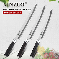 2019 XINZUO 240/270/300MM Sushi Knife with Scabbard Cover X9Cr18MoV Steel Kitchen Knives Cleaver Sashimi Knife Ebony Wood Handle