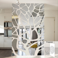 3D large Tree patternAcrylic Mirror wall stickers fashion home decorative mirror the living room hallway bedroom TV stickers