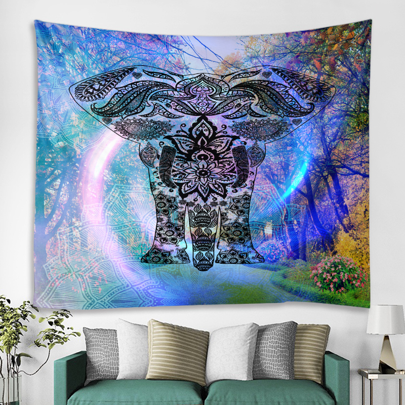 Decorative Mandala Elephant Wall Hanging Tapestry Bohemian Macrame Wall Art Blanket Home Decor Multicolor Bedroom Sheets in Tapestry from Home Garden