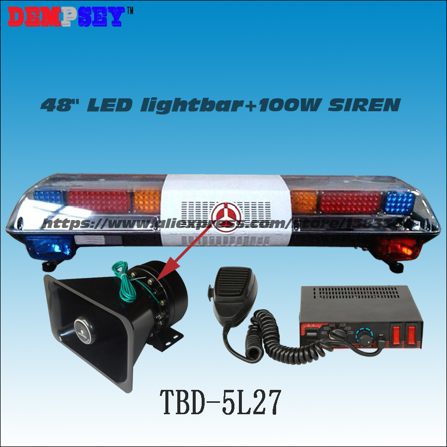 TBD-5L27 Super Bright LED lightbar ,100W Siren+100W Speaker ,Red/Blue/Amber Warning lights Bar 120cm 64w led police lightbar ambulance lights firemen light bar 100w loudspeaker 100w police warning siren waterproof