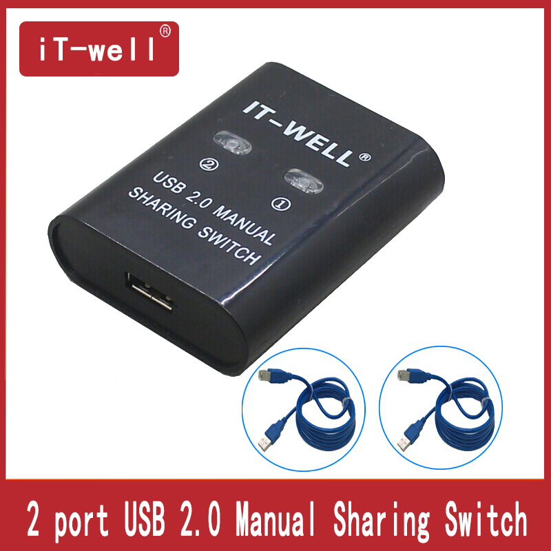 USB Hub Usb Sharing  Switch 2 Ports For Computer PC Printer  Support 2 Computers Share 1 USB Device  Includes 2 Cable