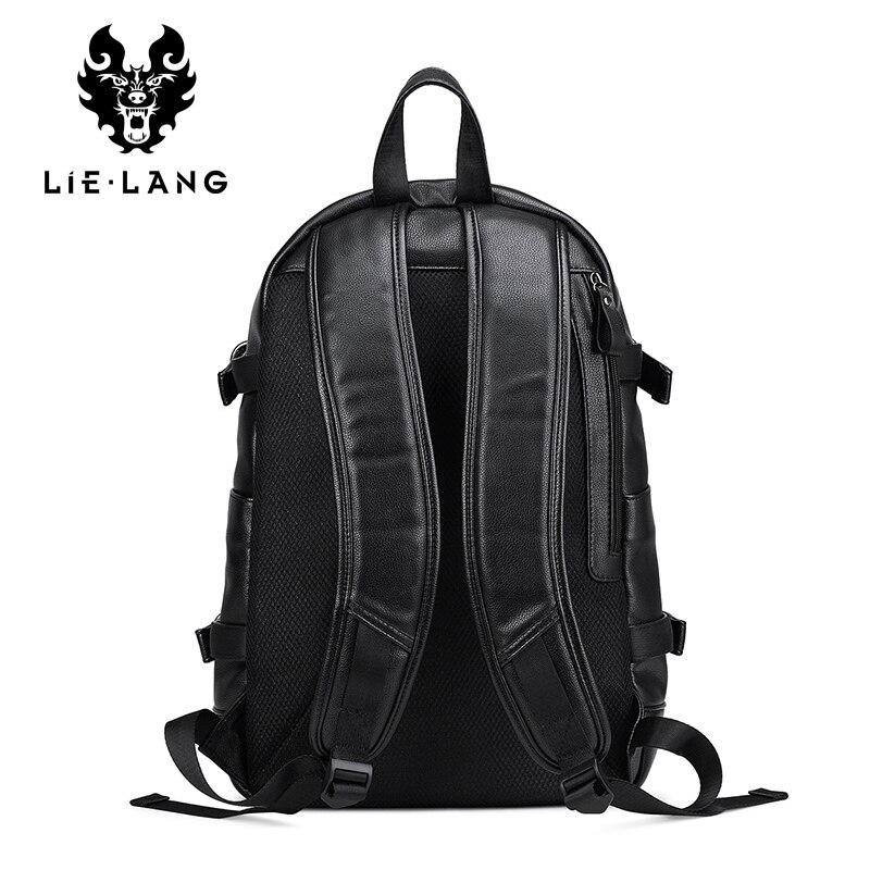 LIELANG cuir sac à dos hommes USB Charge sac à dos Anti-vol étanche ordinateur portable mâle mode sacs à dos pour Teenger PU sacs d'école - 3