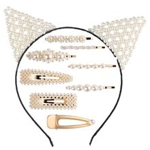 Girl Headdress Artificial Pearl Rabbit Ears Students Headband Hairpin Elegant Cute Lady Hair Jewelry Decoration Gift