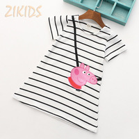 Lovely Baby Girls Dresses 2016 Summer Cartoon Peppa Pink Pig Short Sleeve Striped Dress Girl Clothes