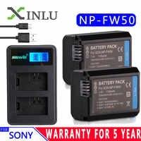 Para Sony NP-FW50 cargador USB LCD + batería de cámara 1130mAh npfw50 para Alpha a6500 a6300 a6000 a5000 a3000 NEX-3 conjunto de DSC-RX10 a7R