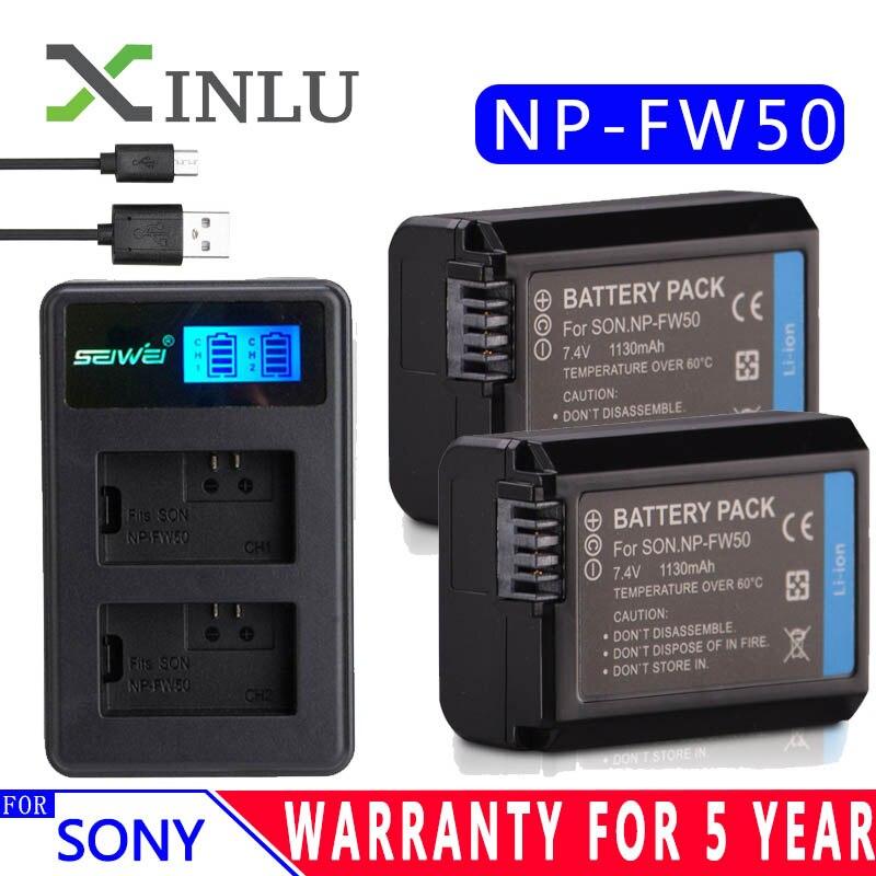 Para Sony NP-FW50 LCD USB cargador + 1130 mAh NP FW50 de batería de la cámara para alfa a6500 a6300 a6000 a5000 a3000 NEX-3 a7R DSC-RX10 conjunto