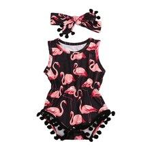 New Girls Newborn Infant Baby Sleeveless Flamingo Romper Jumpsuit Sunsuit Headbands Summer 2Pcs Clothing Set Outfits