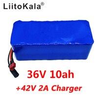 LiitoKala 36V 10ah 500W 18650 ליתיום סוללה 36V 8AH חשמלי אופני סוללה עם PVC מקרה עבור חשמלי אופניים 42V 2A מטען