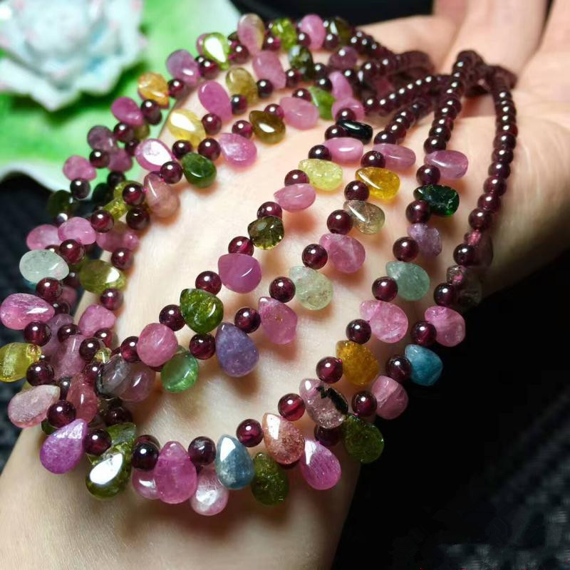 tourmaline stone round drop 3mm necklace 18 FPPJ wholesale beads nature