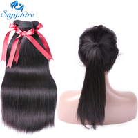 Sapphire Peruvian Straight Hair Remy Human Hair 360 Lace Frontal With Bundles Natural Color For Hair