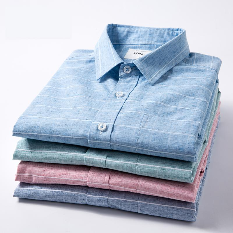 New The Summer Small Fresh Short Sleeve Shirt Mens Linen Casual Loose Cotton Clothing Male Loose Fashion Large Size M-5XL 6XL