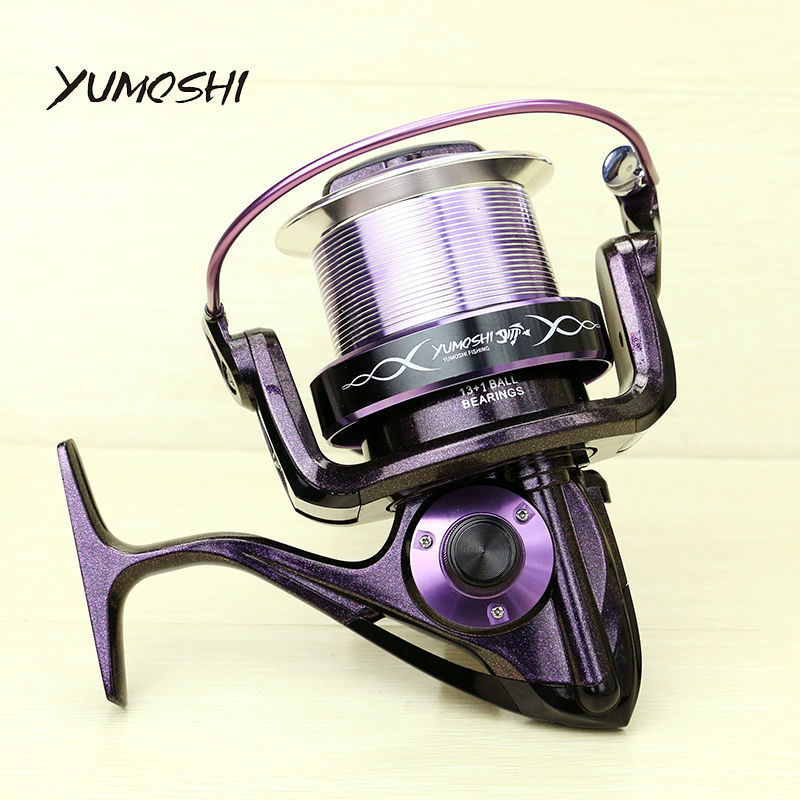 YUMOSHI AF8000 Fishing Reel 14 Ball Bearings 13+1BB  Color-Changing Paint  Sea Boat Spinning 4.1:1 Gear Ratio new yumoshi fishing reel 9 1bb spinning reel boat rock fishing wheel 4000 9000 series reel