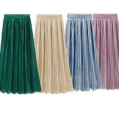 Vintage Women Metallic Luster Stretch High Waist Plain Skater Flared Pleated Long Skirt Gold Sequined Skirts