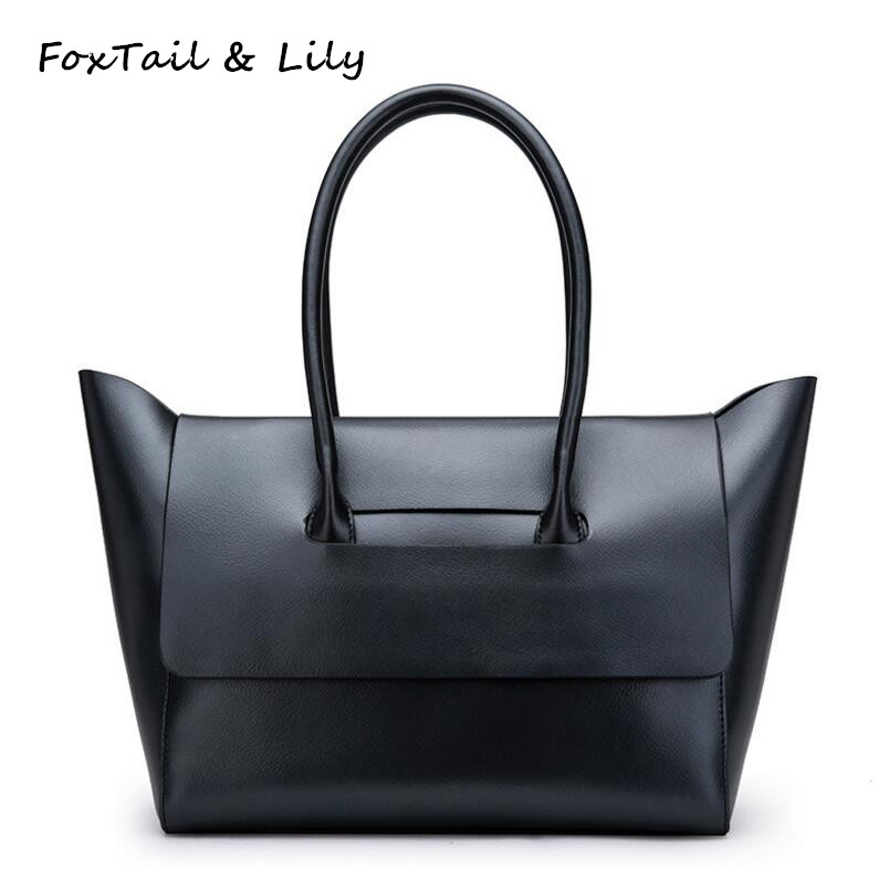 FoxTail & Lily Brand Women Genuine Leather Designer Handbags High Quality Large Capacity Practical Casual Tote Shoulder Bag Hot [whorse] brand high quality women genuine leather shoulder bags cowhide ladies casual tote bag large capacity wa5054 7