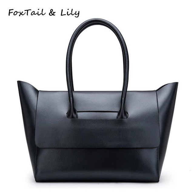 Foxtail Lily Brand Women Genuine Leather Designer Handbags High Quality Large Capacity Practical Casual Tote
