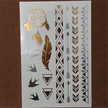 Disposable Tattoo Stickers Sexy Body Tattoo Arrow Triangle Pattern Combination Waterproof Flash Golden Tattoo