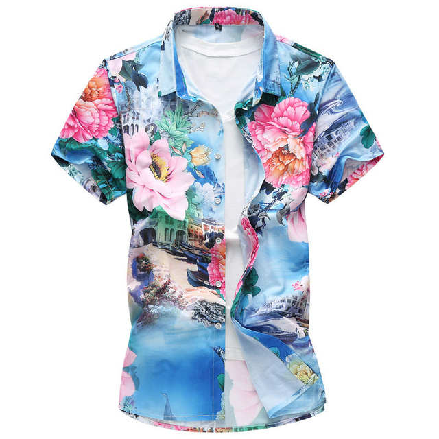 65a7a558 Online Shop Men's Floral Hawaiian Shirts Large Size Summer Print Short  Sleeve Shirt Male Thin Type Slim Fit Casual Shirt 5XL 6XL 7XL | Aliexpress  Mobile