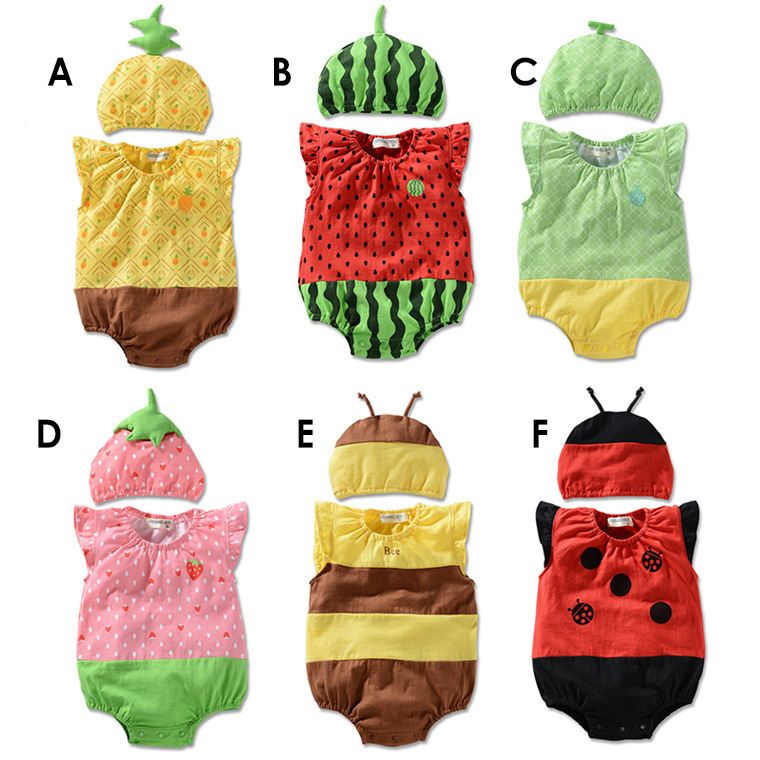 Newborn Funny Baby Girl Cartoon Romper Sleeveless Summer Baby Boy Jump Suit Baby Clothes Strawberry Bee Rompers Climbing Clothes