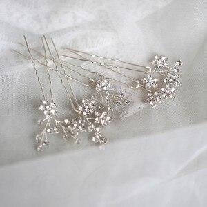 Image 2 - Jonnafe Shine Rhinestone Floral Wedding Hair Pins Set Gold Silver Color Bridal Hair Jewelry Accessories
