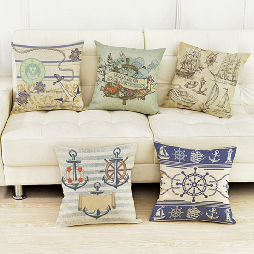 Vintage Rudder Sailing Boat Collection Anchors Life Buoy Decorative Pillow Covers for Sofa Nostalgic Cotton Linen Cushion Covers