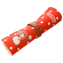 5X Affordable Kawaii Pencil case is big capacity canvas contracted coils of pencil bags girl lovely pencil box pen curtain red