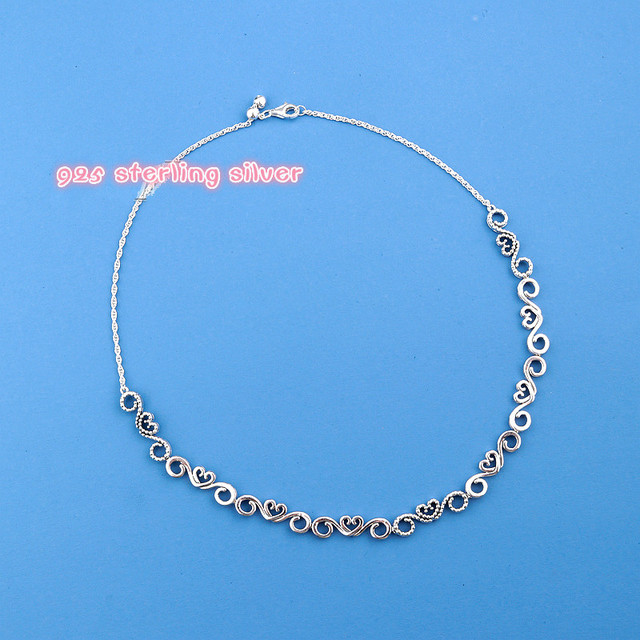 9fa81fa80 ... usa 2018 mother day 925 sterling silver heart swirls choker pandora  necklace clear cz fit original