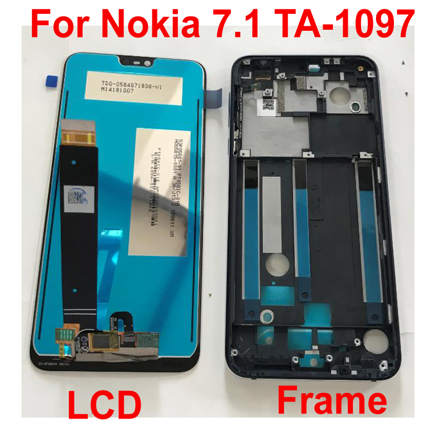 Original Best Working 5.84 For Nokia 7.1 TA 1097 LCD Display Touch Screen Digitizer Assembly Sensor Glass Panel + Frame