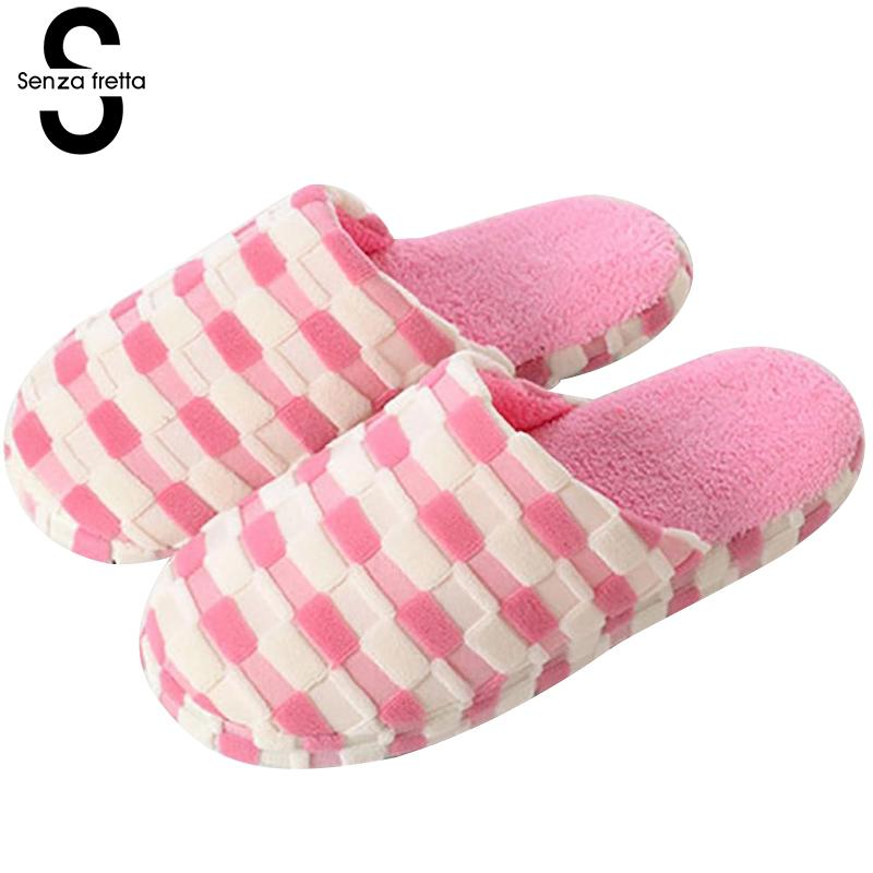 Senza Fretta Winter Lattice Warm Cotton Slippers Home Soft Bottom Non-slip Floor Slippers Couples Plush Slippers Women Shoes women s winter furry slippers home non slip soft couples cotton thick bottom indoor warm rubber clogs woman shoes