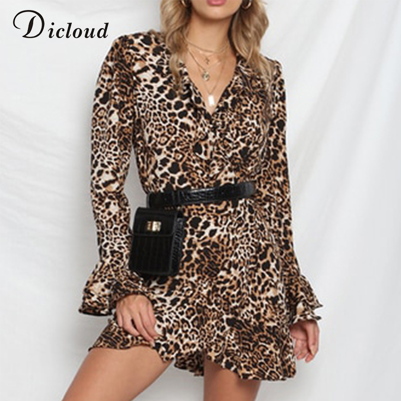 Dicloud leopard dress women summer autumn ruffle long sleeve v neck sexy bodycon mini dress casual wrap party vestidos de fiesta Платье