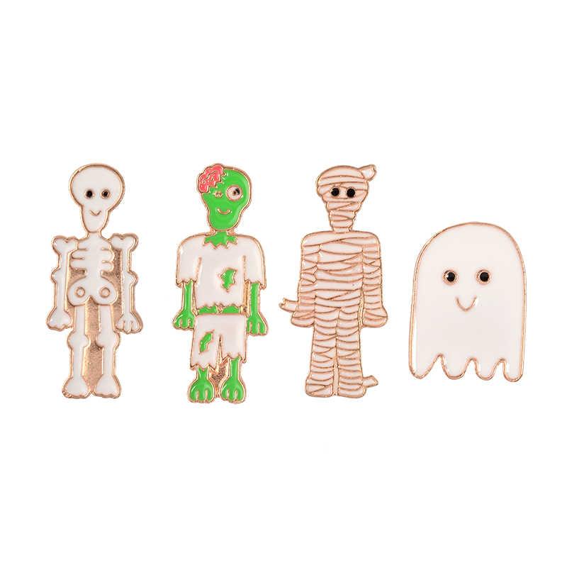 Панк Скелет булавка мультфильм милый Мумия зомби семья брошка на лацканы череп повязки спектр привидения эмаль Броши подарок для друзей детей