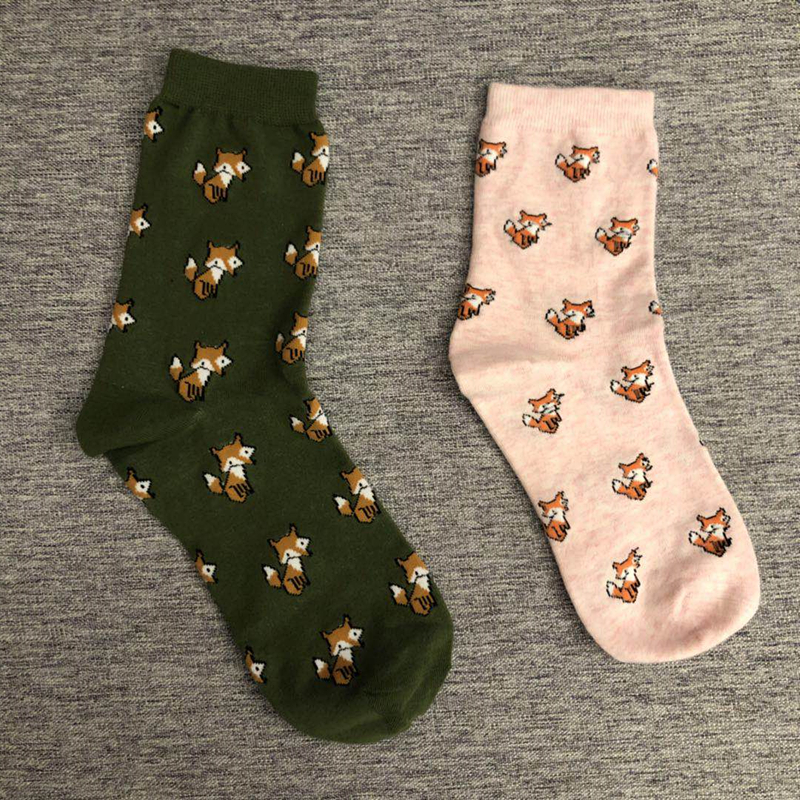 Adult Size Animal Socks Fox Tod Foxhound Bushy Tail Foxy Mammal Green Grass Zoo Popular Fairy Tales Forest Fresh Sox Wild Mid