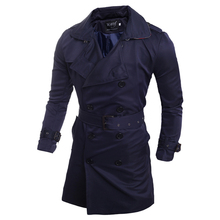 Men Trench Coat European and American Style Double-breasted Men's Temperament Sl
